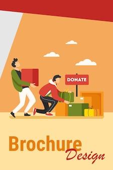 자원 봉사자들은 가난한 사람들을 위해 상자에 물건을 기부합니다. 서비스, 노숙자, 친절 평면 벡터 일러스트 레이 션. 자선 및 관리 개념