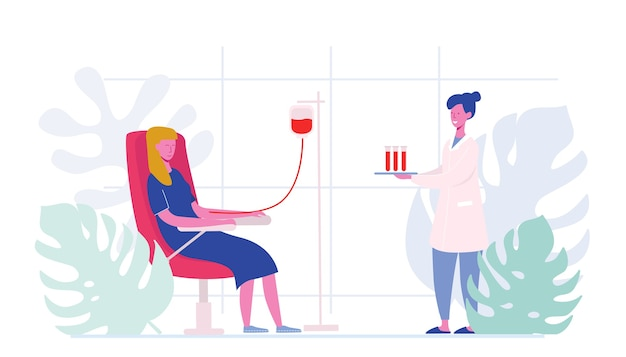 献血医療病院の椅子に座っている女性キャラクターのボランティア。医師の女性看護師が試験管、寄付、世界献血者デー、ヘルスケアを取り入れます。漫画フラット