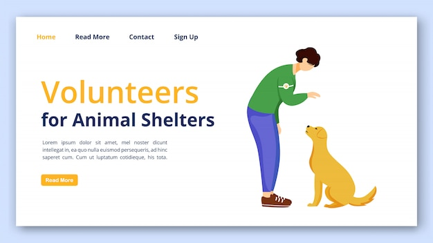 動物の避難所のランディングページベクトルテンプレートのボランティア。フラットイラストとチャリティーウェブサイトインターフェイスのアイデア。自主制作ホームページレイアウト。ペット採用ランディングページ