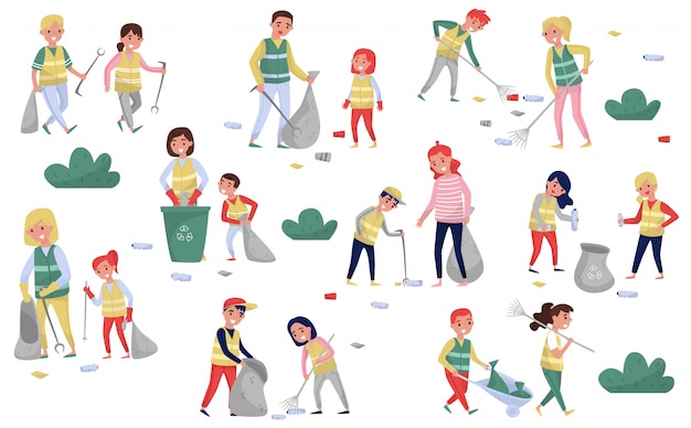 Volunteers gathering garbage and plastic waste for recycling set, parents and children taking part in garbage collection, environmental protection and education concept  illustrations