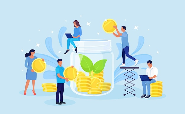 Volunteers giving money. donation, charity, support concept. tiny characters throw coins into huge glass jar for donate. people make savings, collecting currency in account, open bank deposit