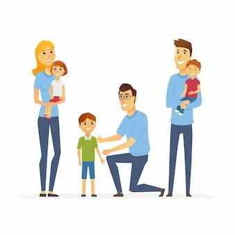 ボランティアは子供や高齢者を助けます-漫画の人々のキャラクターは白い背景のイラストを分離しました。 3人の若いソーシャルワーカーが子供と遊んでいます。孤児、大家族への支援