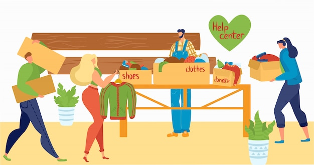 Volunteers help people with cloths and things, help center, charity, care for homeless and social support flat   illustration.