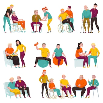 Volunteers helping elderly and disabled people in nursing homes and private apartments flat set vector illustration
