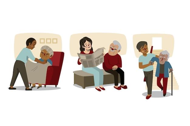 Volontari che aiutano la raccolta degli anziani