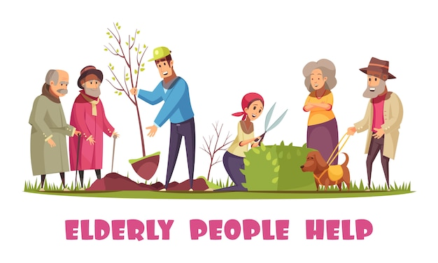 Volunteers helping elderly people with planting trees trimming hedges gardening chores flat cartoon horizontal composition