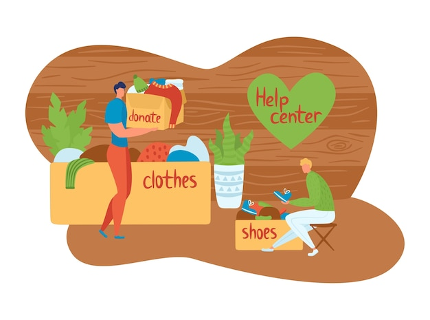 Volunteers, helping people. providing support, help center, men collect clothes, shoes those in need.
