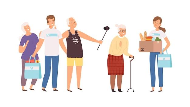 노인 집에서 자원 봉사자입니다. 행복한 노인과 젊은이. 노인 벡터 삽화를 위한 선물과 기부를 하는 남자 여자. 재택 시니어, 지원 자원 봉사 노인, 자원 봉사 지원