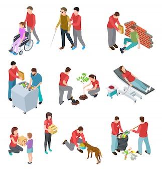 Добровольцы изометрической набор. люди, ухаживающие за бездомными и больными стариками. социальная служба, благотворительная гуманитарная концепция вектор
