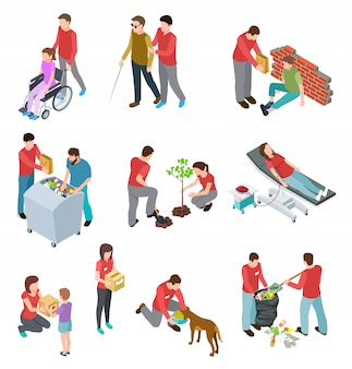 Volunteers isometric set. people caring homeless and diseased elderly. social community service, charity humanitarian vector concept