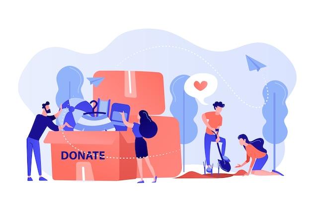 자원 봉사자들은 돕고, 씨앗을 심고, 옷과 장난감을 상자에 기증합니다. 자원 봉사, 자원 봉사 서비스, 이타적인 직업 활동 개념. 분홍빛이 도는 산호 bluevector 고립 된 그림