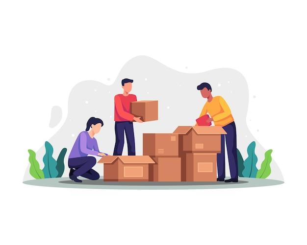 기부 상자를 포장하는 자원 봉사자. 사람들은 기부 상자, 기부 및 자선 개념에서 다양한 것을 수집합니다. 자선, 복지, 지원 개념에 대 한 벡터 일러스트 레이 션. 평면 스타일의 벡터