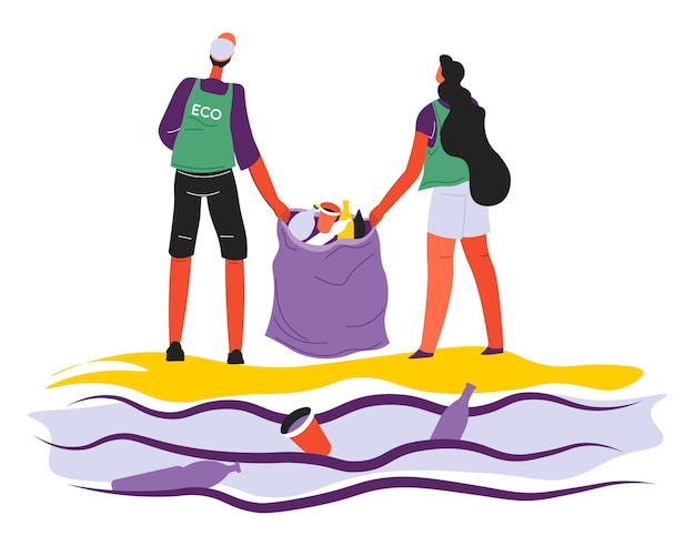 海や海でゴミを拾うボランティア、ゴミ袋を持ったボランティア。ビーチでゴミを集める男女。エコロジーと環境汚染の世話、フラットスタイルのベクトル