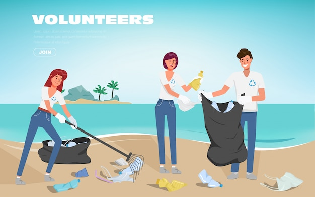 Volunteers save the oceans of plastic pollution. waste on the beach. stop plastic poster banner background.