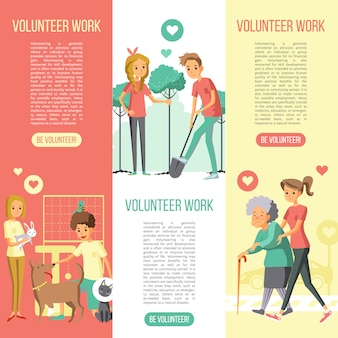 Volunteers work vertical banners set