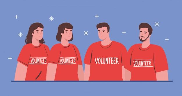 Добровольцы молодые люди, использующие красные рубашки, благотворительность и концепция социального пожертвования