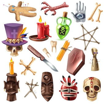 Voodoo african occult practices attributes collection with skull bones mask candles ritual doll pins realistic vector illustration