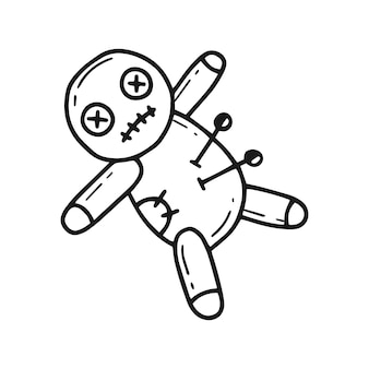 A voodoo doll with pins in a simple doodle style vector illustration
