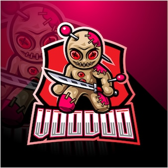 Voodoo esport талисман дизайн логотипа