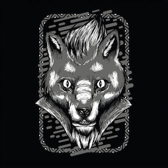 Voodoo fox black and white illustration