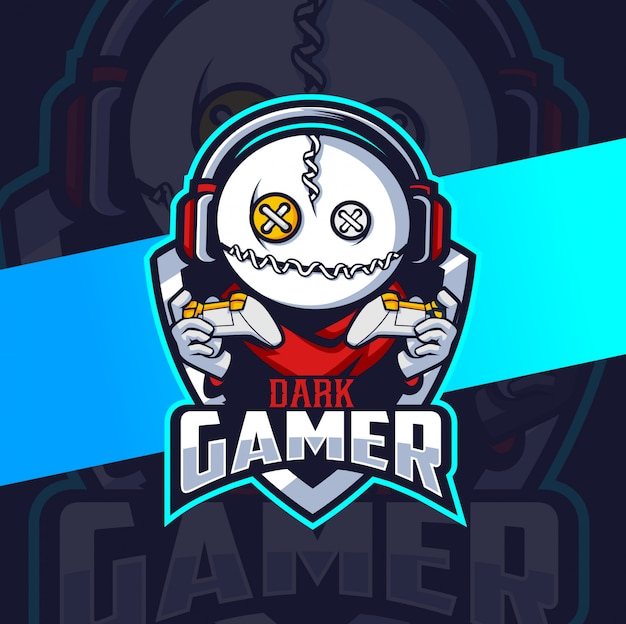 Вуду геймер талисман киберспорт дизайн логотипа
