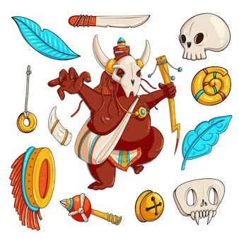 ブードゥー教の手描きベクトルカラーイラストセット。儀式の落書き属性を持つ動物の頭蓋骨で踊るシャーマン。部族文化のクリップアート。アフリカのオカルトオブジェクトのコレクション。孤立したデザイン要素