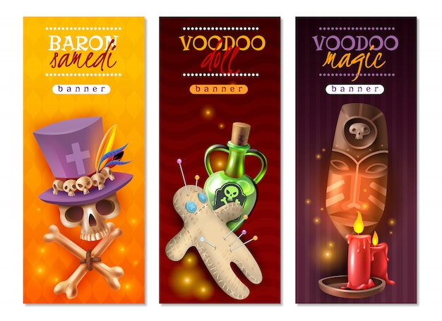 Voodoo religious occult practices with doll colorful pins love hate revenge messages, vertical banners with illustration