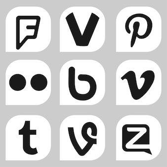 Voronezh, russia - january 05, 2020: set of black and white popular social media icons: foursquare, pinterest, flickr, vimeo, tumblr, vine and others