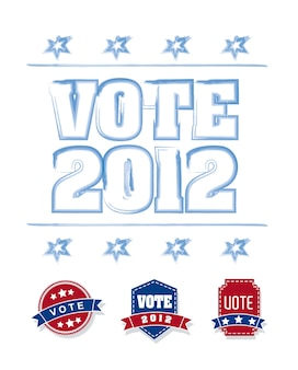 Vote 2012 with blue and red tags over white background vector