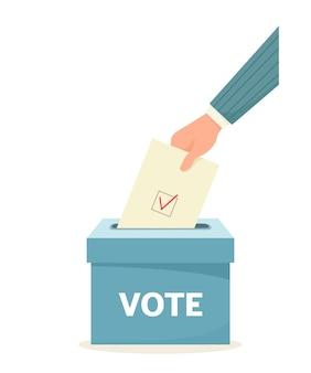 Голос. рука, бросающая бюллетень в урну для голосования. иллюстрация в мультяшном плоском стиле.