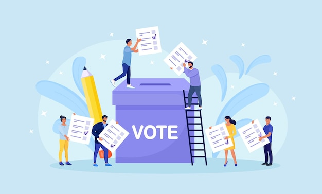 Урна для голосования. группа людей, помещающих перец в коробку. концепция выборов. демократия, свобода слова, справедливое голосование и мнение. референдум и выборное мероприятие