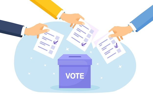 Vote ballot box. group of people putting pepper vote into the box. election concept. democracy, freedom of speech, justice voting and opinion. referendum and poll choice event