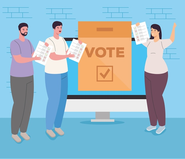Vote box on computer woman and men design, vote elections day and government