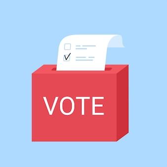チェックリスト付きの投票ボックス。投票箱に紙を入れる。選挙の概念。フラットイラスト