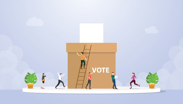 Vote concept with people voter giving paper and box with modern flat style