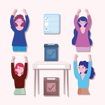 投票選挙、女性投票箱チェックマークテーブルアイコン白い背景イラスト