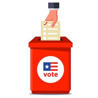 アメリカの選挙で投票する。ビレットを赤い容器に投げます。白い背景のイラスト。