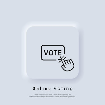 Vote logo. online vote icon. hand click on vote button line icon. vector. ui icon. neumorphic ui ux white user interface web button. neumorphism