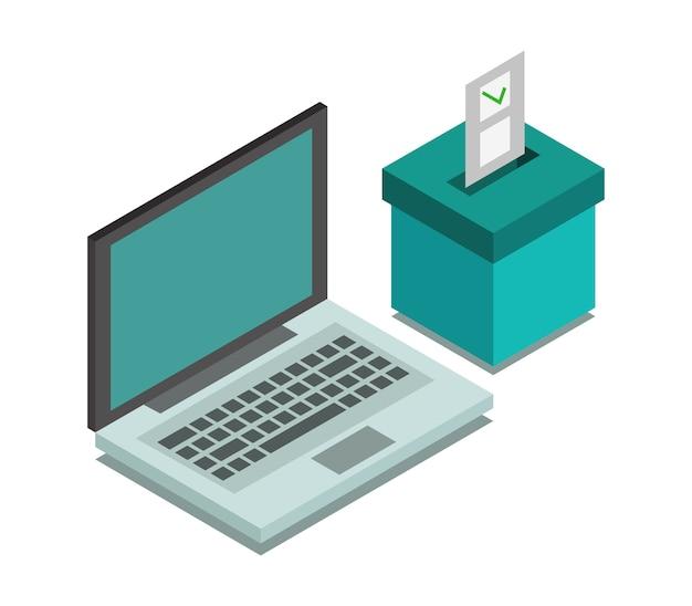 Vote online isometric