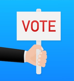 Vote placard in cartoon style on blue