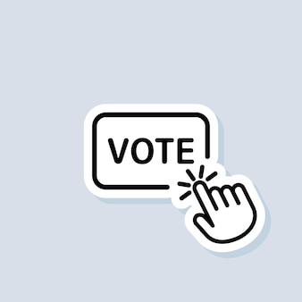 Vote sticker. online vote icon. hand click on vote button line icon. vector on isolated background. eps 10.