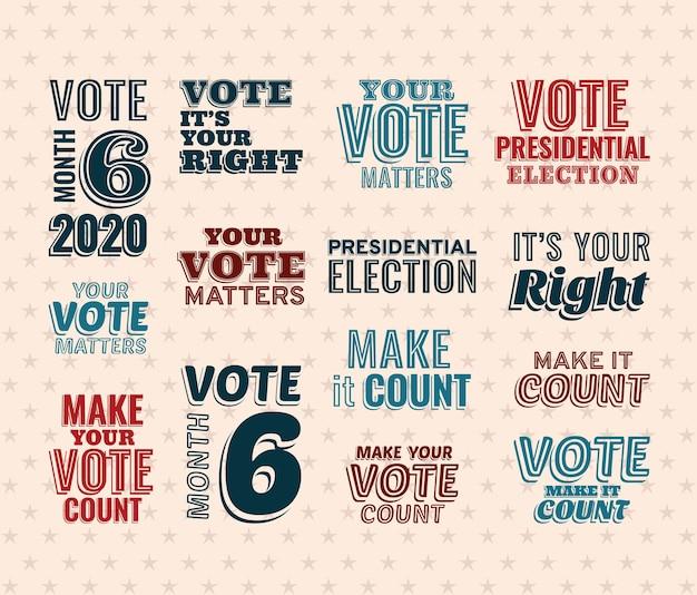 투표 텍스트 레터링 세트 디자인, 대통령 선거 정부 및 캠페인 테마.