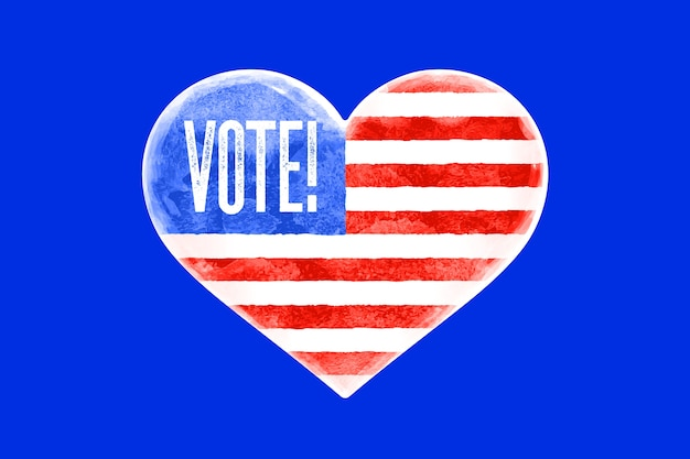 Голосуй, сша. плакат в форме сердца, текст голосования, флаг соединенных штатов америки. голосование, красный и синий символ сердца на белом фоне. сердце с американским флагом.