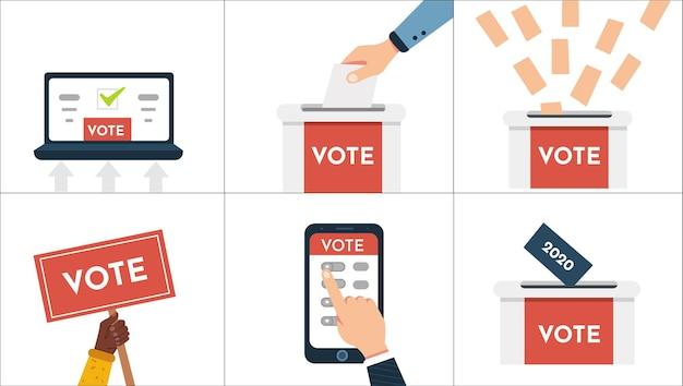 投票ベクトルイラストセット。手は投票用紙を置き、オンラインで投票し、電子投票し、有権者が決定を下します。