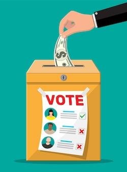 유권자와 정치인 합의. 돈으로 투표 용지와 봉투. 선거를 위해 투표를 판매합니다.