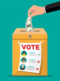 Voter and politician agreement. voting ballot and envelope with money. selling vote for election.