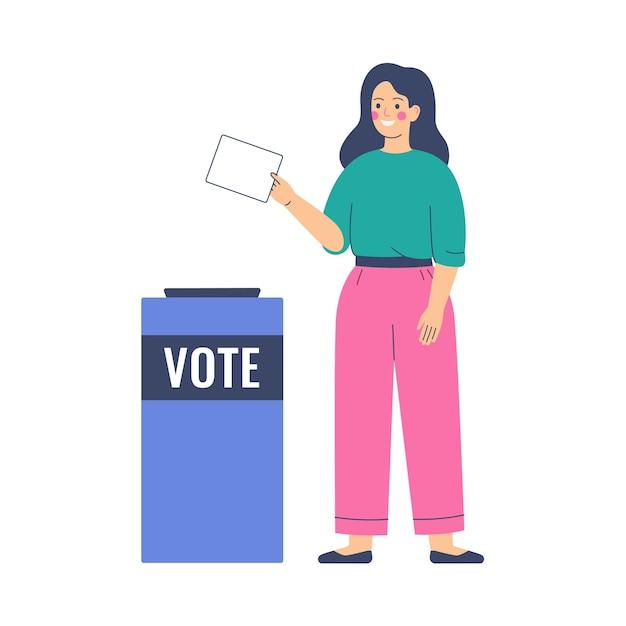 투표 및 선거 개념. 소녀는 투표함에 투표 용지를 넣습니다. 선거 전 캠페인.