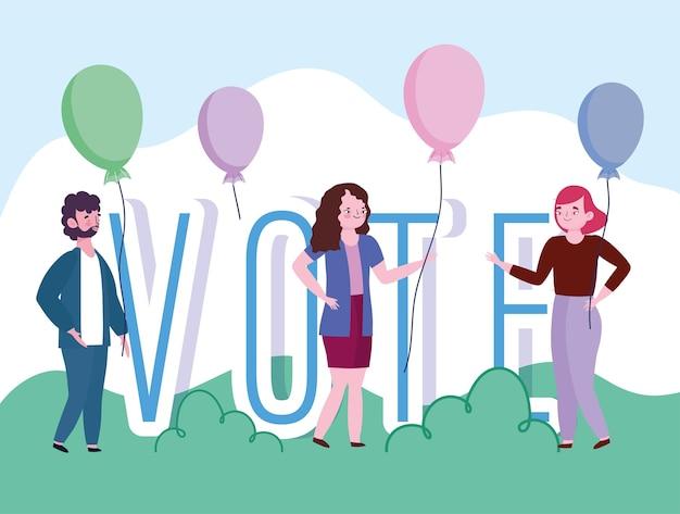 投票と選挙の概念、人々と風船の漫画で投票の言葉