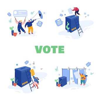 投票と選挙のコンセプトテンプレートデザイン。選挙前キャンペーン。キャラクター候補者のプロモーション。投票用紙の候補者に紙を投票する市民が投票します。