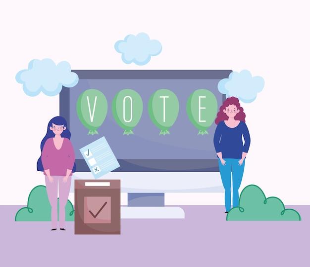 投票と選挙の概念、女性のオンライン投票画面ボックスと投票